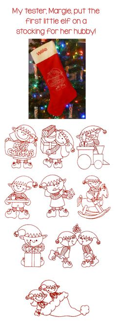 9 adorable Christmas elves in redwork! #DesignsbyJuJu