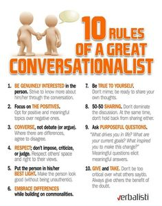 10 Rules Of A Great Conversationalist success business tips self improvement infographics entrepreneur self help tips on self improvement entrepreneurship entrepreneur tips tips for entrepreneur self improvement infographic Social Work, Social Skills, Social Media, Social Issues, Self Development, Personal Development, Leadership Development, Professional Development, Life Skills