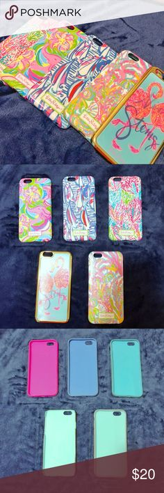 Lilly Pulitzer iPhone 6/7 Case Bundle Varied conditions, selling as a bundle. Some wear on outside, but no defects to functionality. Boats pattern has slight melted mark on top left corner. Nice stems flamingo has some chips in the gold hardware. All fit regular iPhone 6/7. Light scratches on all.  Make me an offer! No tases! Lilly Pulitzer Accessories Phone Cases