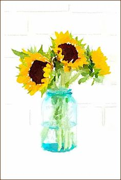 DIY Fall Watercolor Printables Sunflowers in Vintage Ball Jar On Sutton Place Easy to do, diy fall watercolor printables that make instant wall art! Watercolor Sunflower, Watercolor Flowers, Sunflower Paintings, Watercolor Ideas, Watercolor Cards, Watercolor Paintings, Watercolors, Do It Yourself Design, Ball Jars