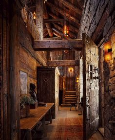 Cosy dark wood log cabin interior