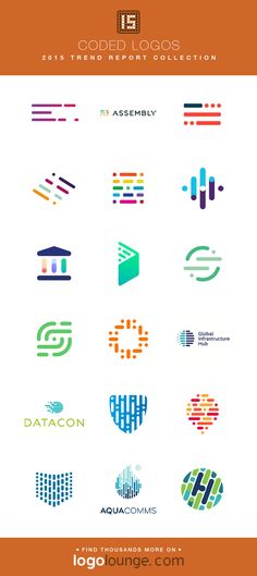 2015 LogoLounge Trend Report Collection - Coded Logos Lines, dashes and dots come together to form larger shapes. Assembled in organized ways, they seem to convey strength of multiples coming together to form one. Logos, Typography Logo, Logo Branding, Coding Logo, Logo Software, Dash And Dot, Dot Logo, Learning Logo, Logo Shapes