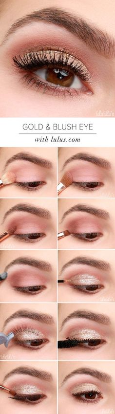 Makeup Tips For Looking Your Best In Photos - Lulus How-To: Gold and Blush Valentine's Day Eye Makeup Tutorial - Make Up Tips And Tricks Including Eyeshadows, Brows, Eyes, Products And Eyebrows Ideas (Best Eyeshadow Tutorial) Day Eye Makeup, Makeup For Brown Eyes, Lip Makeup, Makeup Eyeshadow, Makeup Brushes, Makeup Eyebrows, Gold Makeup, Dark Eyeshadow, Dark Lipstick