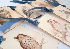 Owl tags vintage style gift tag vintage bird owl by MagpieandMax