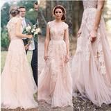Boho Wedding Dress Silhouette : A-Line Waistline : Natural Fabric Type : Lace Built in Bra : Yes Customizable : Yes (Leave your measurements at checkout) Sleeve Length : Short Length : Floor Length