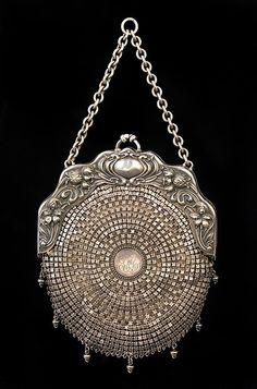 Beauty, silver evening purse Art Nouveau style