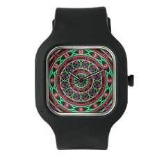 Colorful Clock In Red, Green And Blue Watch