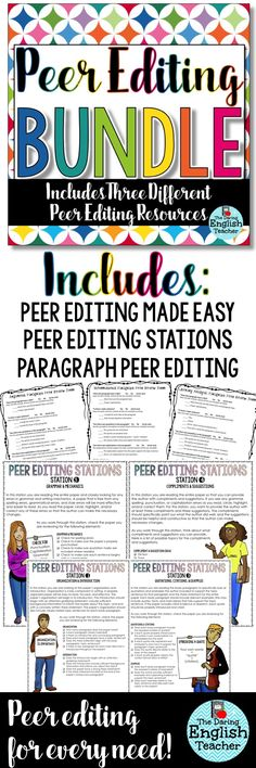 Peer editing can be confusing. High school and middle school students need direction to effectively peer edit in the classroom. These resources help middle school English and high school English students become better at peer editing.