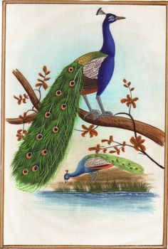Indian Miniature Peacock Miniature Art. Fill your home with the beauty of this exquisitely detailed & stunningly beautiful hand-made bird miniature from the western state of Rajasthan, India.
