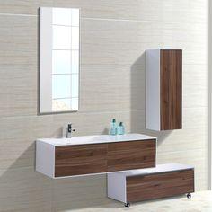 Mobile bagno grande sospeso 130 cm softclose | Composizione bagno: mobile, lavabo, specchio e base con ruote inclusi nel prezzo :: E-arredobagno.it