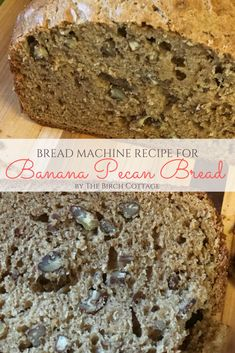 Learn how to make this bread machine recipe for Banana Pecan Bread. Use your bread machine to make this super moist quick bread in no time! Bread Machine Banana Bread, Banana Pecan Bread Recipe, Cinnamon Bread, Bread Machine Recipes, Banana Bread Recipes, Banna Bread, Baked Chicken Recipes, Bread Baking, Birch