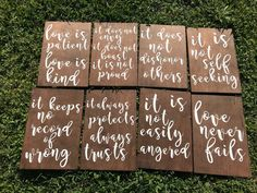 Wedding Theme Love is patient,love is kind,love scripture,wedding decor,rustic weddi – A Rustic Romance - Set of 8 wooden signs. Please contact me if you need these sooner! Wedding Table Decorations, Wedding Themes, Wedding Tips, Diy Wedding, Wedding Events, Rustic Wedding, Wedding Planning, Wedding Ceremony, Dream Wedding