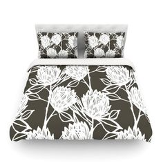 East Urban Home Protea Olive Flowers by Gill Eggleston Featherweight Duvet Cover Size: Twin, Color: Strawberry/White/Red Duvet Cover Sizes, Duvet Covers, Ruffle Bedding, Home Bedroom, Bedrooms, Blue Walls, California King, Bohemian Decor, Bohemian Decorating