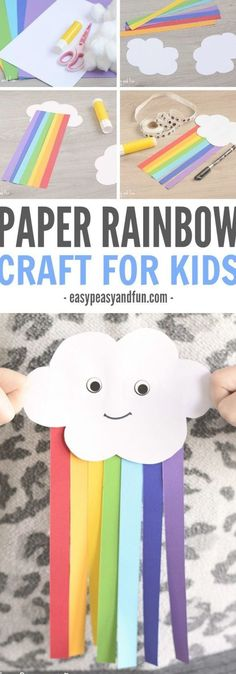 Happy cloud is here to play! This sweet cloud and paper rainbow craft for kids is a great spring project! Happy cloud is here to play! This sweet cloud and paper rainbow craft for kids is a great spring project! Quick Crafts, Easy Crafts For Kids, Craft Activities For Kids, Fun Crafts, Children Crafts, Spring Crafts For Kids, Childrens Crafts Preschool, Paper Crafts For Kids, Kids Diy