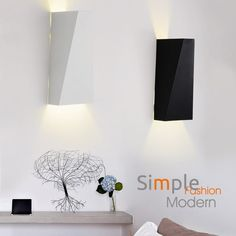 Contemporary Simple Artistic Metal 1 Light Wall Light In White / Black    Indoor Sconces   Wall Lights   Lighting
