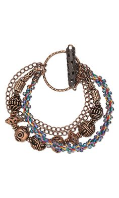 Multi-Strand Bracelet with Copper Components, Kumihimo and Seed Beads by Tammy Honaman.
