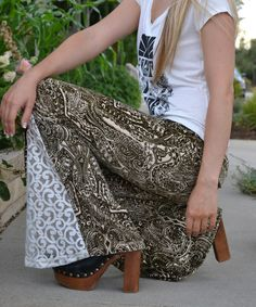 Love this Brown Paisley Juno Bells Flare Pants - Women on #zulily! #zulilyfinds