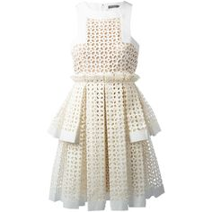 Alexander McQueen laser cut box pleat dress (19,540 ILS) ❤ liked on Polyvore featuring dresses, vestidos, robes, white, white day dress, alexander mcqueen dresses, no sleeve dress, a line dress and round neck sleeveless dress