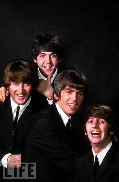 John Lennon, Paul McCartney, George Harrison, and Ringo Starr pose in January…