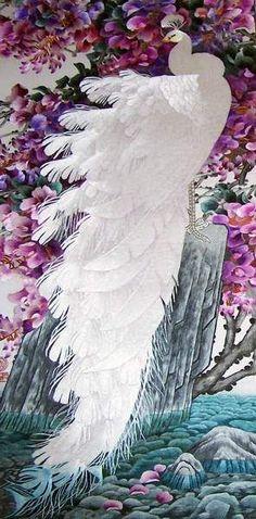 White Peacock, silk thread art, all handmade embroidery with silk threads by embroidery artists in Su Embroidery Sudio, Suzhou China