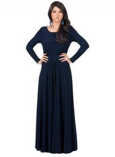 Oasap.com - oasap Long Sleeve Crewneck Pleated Solid Maxi Dress - AdoreWe.com