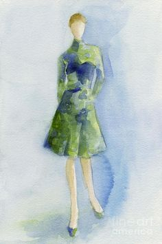 Blue and green dress, beverly brown prints