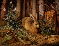 Hans Hoffmann  'A Hare in the Forest' c. 1585 - after Albrecht Dürer's 'A Young Hare' by Plum leaves, via Flickr