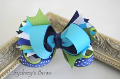 Hair Clip  Stacked boutique hair bow hair clip by SydneysBows, $5.99