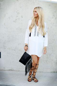 Shein White embroidered dress black laceup sandals mango leather fringe clutch riverisland 4