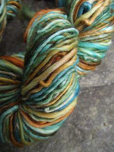 Handspun yarn, handpainted yarn, Rambouillet wool, worsted yarn, multiple skeins available-MRS. FOX. $20.00, via Etsy.