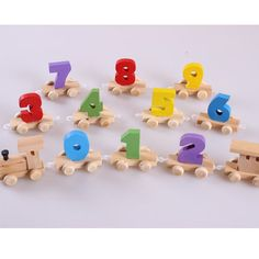 Children's early childhood educational wooden toy train haul digital mosaic digital baby toys 1-3 years