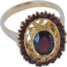 European style Bohemian garnet cocktail ring