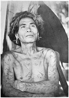 """A Tattoed Ifugao of Kababuyan District  The following conventional tattoo patterns may be distinguished. The dog, eagle, centipede (running up from each breast), scorpions, lightning (zigzag), shield.  """"Ifugao Law"""" American Archaeology and Ethnology, Vol.15, No.1 by R.F. Barton 1919 University of California   =Gabriela="""