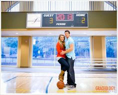 Using the scoreboard for their wedding date. The perfect idea for a save the date card!