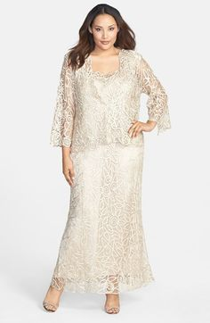 Shop 1920s Plus Size Dresses, wedding dresses, mother of the bride dresses : Soulmates 3-Piece Silk Crochet Skirt Set (Plus) $498.00