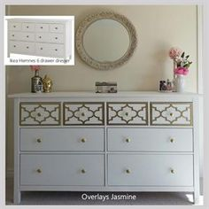 This site sells molding overlays to add style to cheap Ikea furniture!
