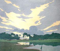 Archibald Bertram Webb: The Haunt of the Herron, c, 1921 - 1928, colour woodcut.