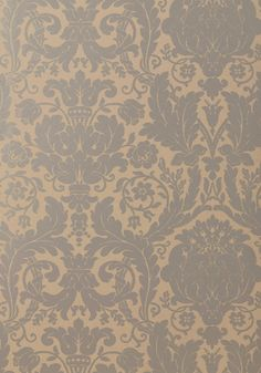 DREXEL, Silver on Taupe, T7630, Collection Damask Resource 3 from Thibaut