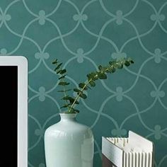 Our Curved Connection Moroccan Stencils include a free Ceiling Stencil to make a nice, easy finish at the top of the wall. The romantic and soft curves of this