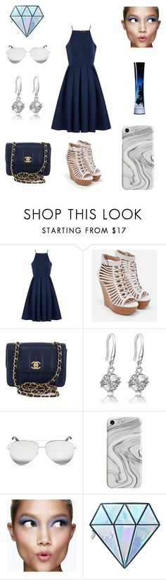 """Navy"" by lydiahammons ❤ liked on Polyvore featuring Chi Chi, JustFab, Chanel, Victoria Beckham, Recover, Clinique, Unicorn Lashes and Giorgio Armani"