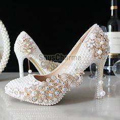 chaussure mariage incrustées perles simili avec strass phénix escarpin blanc de mariée pas cher talons hauts aiguille