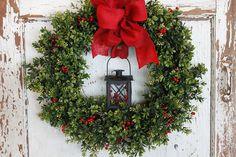Holiday lantern boxwood wreath by theembellishedhome on Etsy, $69.00