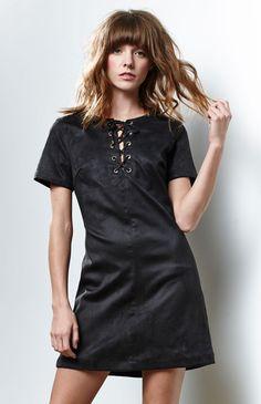 Faux Suede Lace-Up Dress