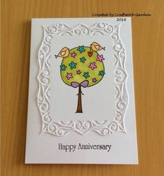 Happy Anniversary Card Happy Anniversary Cards, Crafty, Garden, How To Make, Art, Art Background, Garten, Lawn And Garden, Kunst