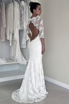 edbeacc5cd Vintage Mermaid Scoop Keyhole Back Lace Long Seeves Wedding Dress With  Appliques