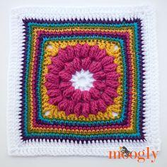 "Block #10 in the Moogly 2015 Afghan Crochet Along - Whimsical Penelope's Merry Go Round 12"" Square by Celina Lane. Free pattern (link). ༺✿ƬⱤღ  https://www.pinterest.com/teretegui/✿༻"