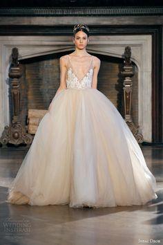 inbal dror fall winter 2015 bridal gown 19 sleeveless blush peach tulle ball gown wedding dress