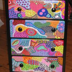 Art Furniture Painted Funky | Funky painted chest and dresser | debbiedidit2