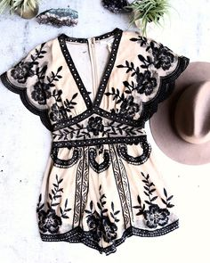 Bat your lashes boho romper ivory honey punch - v neck short sleeve embroidered lace romper - nude/black - Jumpsuits and Romper Boho Romper, Lace Romper, Bohemian Mode, Bohemian Style, Bohemian Clothing, Bohemian Gypsy, Hippie Style, Böhmisches Outfit, Romper Outfit