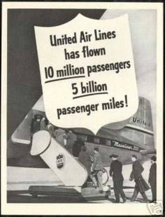 United Airlines Mainliner 300 Vintage Photo (1948)